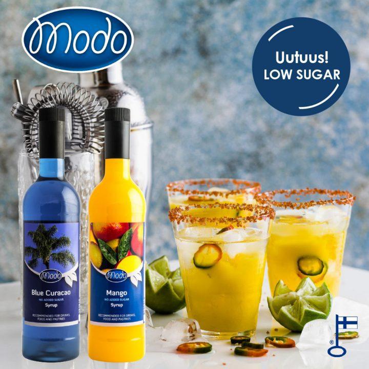 Modo uutuustuotteet – Low Sugar Mango ja Blue Curacao